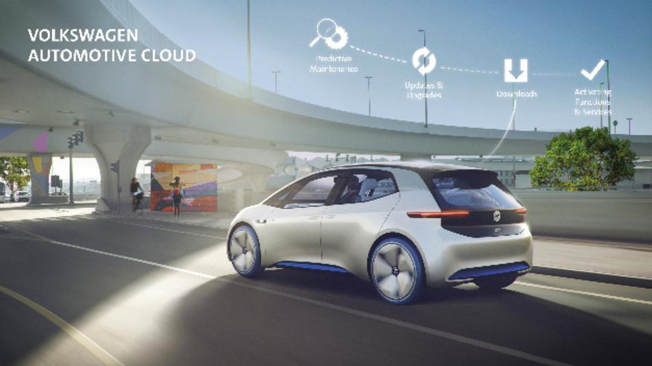 Die Volkswagen Automotive Cloud wird das vollvernetzte Fahrzeug mit einer cloudbasierten Plattform und digitalen Mehrwertdiensten verknüpfen.