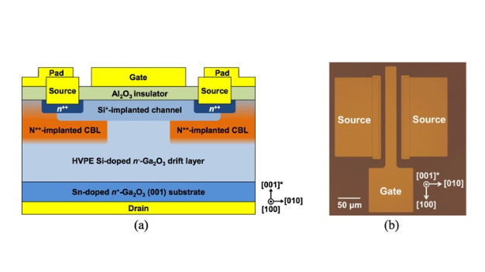 Bild 1: Schematischer Schnitt (a) und Draufsicht durch ein Mikroskop auf den vertikale Ga2O3-MOSFET.
