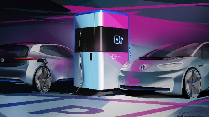 Die mobile Schnellladesäule ist eine Eigenentwicklung von VW, die einen geschlossenen Lebenszyklus für die Batterie bieten soll.