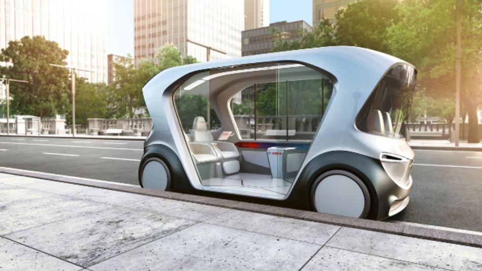 Fahrerlose Shuttles, die mit Elektroantrieb nahezu geräuschlos durch die Innenstädte surren und nahtlos mit ihrem Umfeld vernetzt sind, stellt Bosch auf der CES in Las Vegas vor.