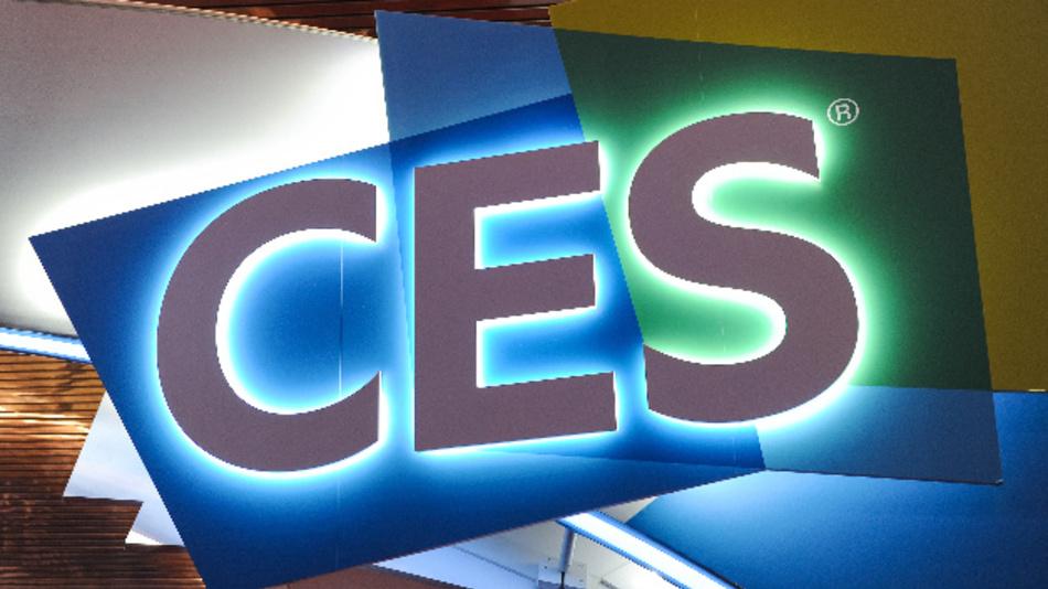 Das Logo der Technik-Messe CES ist im Las Vegas Convention Center zu sehen.