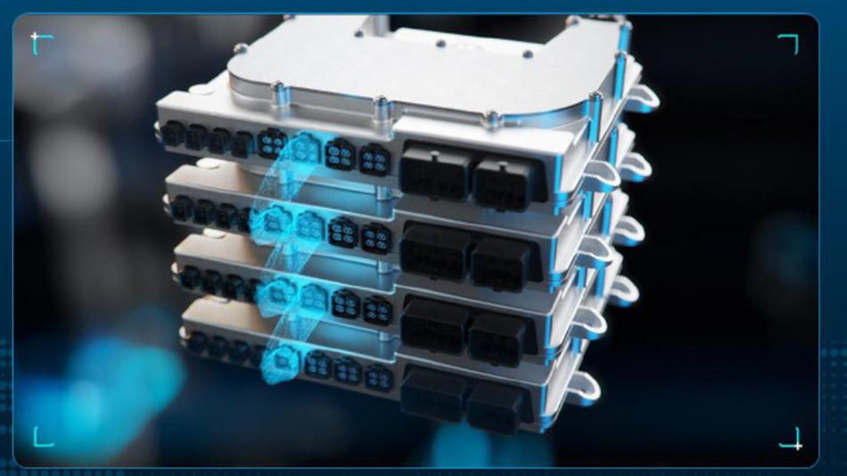 Mit vier vernetzten ZF ProAI RoboThink Einheiten lässt sich in der Spitze eine Rechenleistung von bis zu 600 TOPS realisieren.