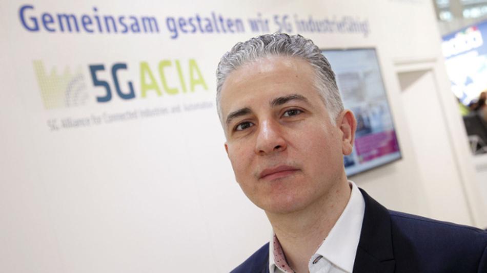 Dr. Afif Osseiran von Ericsson, stellvertretender Vorsitzender der 5G-ACIA, bei der Gründung der Initiative auf der Hannover Messe 2018.