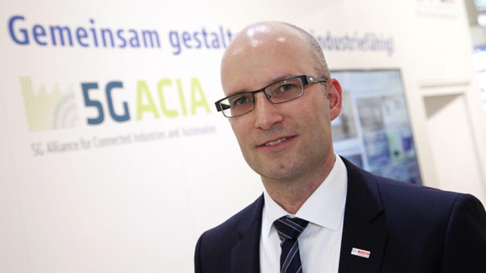 Dr. Andreas Müller von Bosch, Vorsitzender der 5G-ACIA, bei der Gründung der Initiative auf der Hannover Messe 2018.