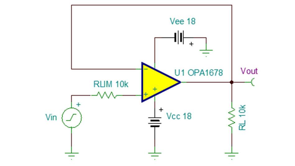 Bild 22. Modifizierte Anstiegsgeschwindigkeits-Prüfschaltung mit eingangsseitiger Strombegrenzung für OPVs mit Klemmdioden am Eingang.