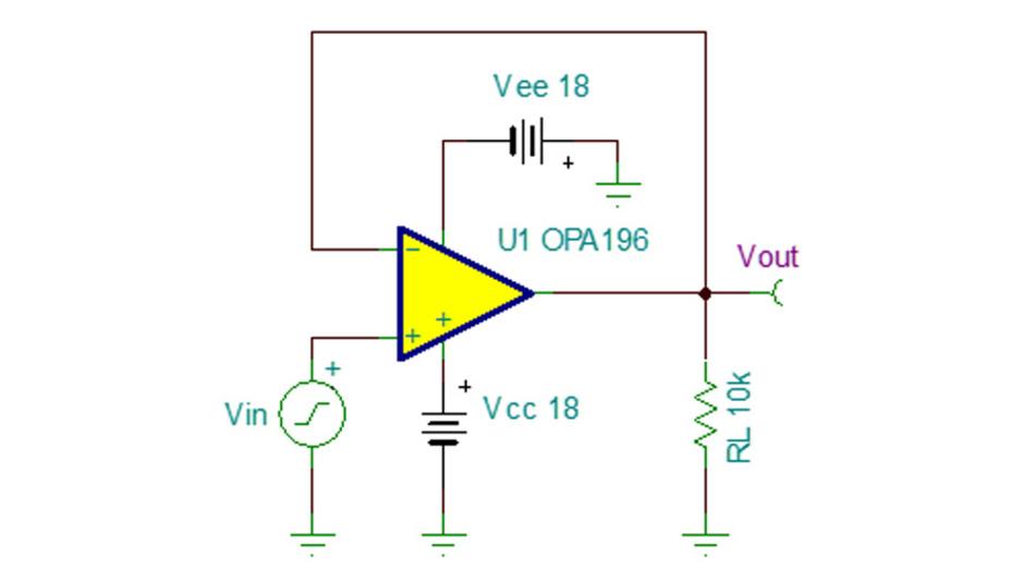Bild 19. Schaltung zum Prüfen der Anstiegsgeschwindigkeit von SPICE-Modellen.