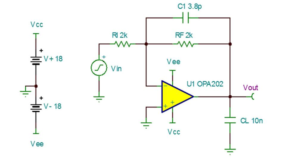 Bild 28. Mit dieser Schaltung mit einer Verstärkung von –1 V/V lässt sich die Kleinsignal-Sprungantwort eines OPV-Modells prüfen.