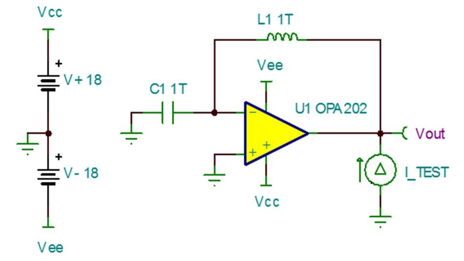 Bild 25. Schaltung zum Prüfen der Leerlauf-Ausgangsimpedanz ZA0 eines OPV-Modells.
