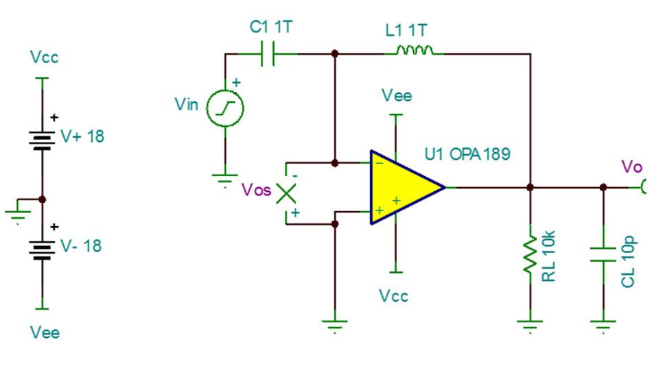 Bild 34. Die Schaltung zum Messen der Leerlaufverstärkung eines OPVs gleicht der Schaltung zum Messen der Ausgangsimpedanz [29].