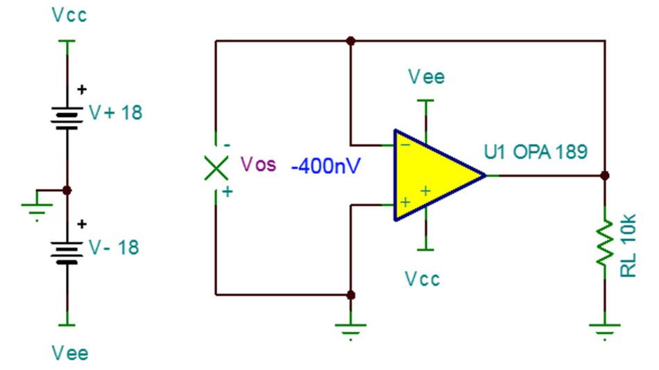 Bild 33. Als Ergebnis der Offsetspannungsmessung (Schaltung entsprechend Bild 32) am OPA189 liefert die SPICE-Simulation einen Wert von –400 nV.