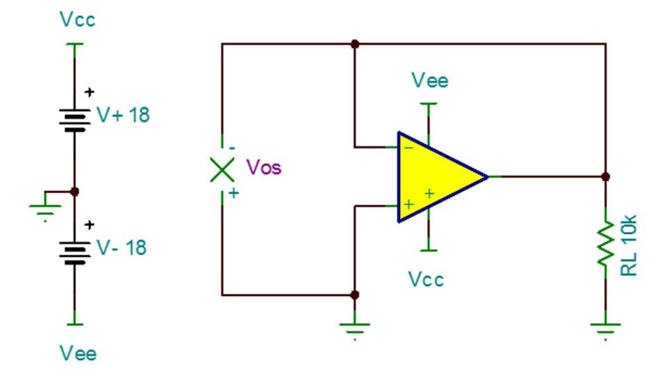 Bild 32. Für die Schaltung zum Messen der Eingangs-Offsetspannung wird der OPV als Pufferverstärker mit Eins-Verstärkung beschaltet.