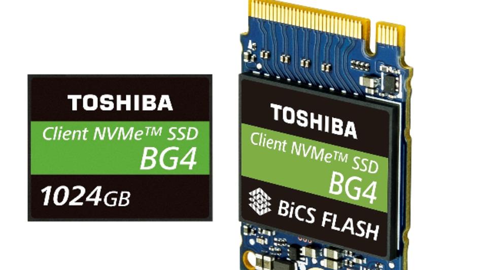Die neue Single-Package-SSD von Toshiba Memory steht mit Speicherkapazitäten von 128 GB, 256 GB, 512 GB und 1.024 GB zur Verfügung, entweder als BGA-Modul M.2 1620 oder als wechselbares Modul M.2 2230.