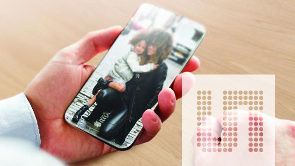 Ein Schritt in Richtung randlose Smartphone-Displays: Der Umgebungslichtsensor TCS3701 von Ams unterscheidet Umgebungslicht von Display-Helligkeit und kann damit hinter das Display integriert werden.