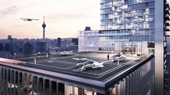So könnte ein Landeplatz für Lufttaxis in der Stadt aussehen. In München plant die Bahn für den neuen Bahnhof bereits Landeplätze ein, die Schweizer SBB ist jetzt mit Lilium in Kontakt, um ein ähnliches Konzept in der Schweiz zu verfolgen.
