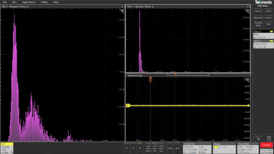 Bild 10: Histogramm von URMS (rechts oben, Peak bei 120 µV) und UPP (links, hoher Peak etwa 2 mV) im empfindlichsten Eingangsbereich mit BNC-auf-Bananenstecker.
