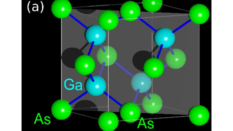 Einheitszelle des Halbleiters Galliumarsenid (GaAs)