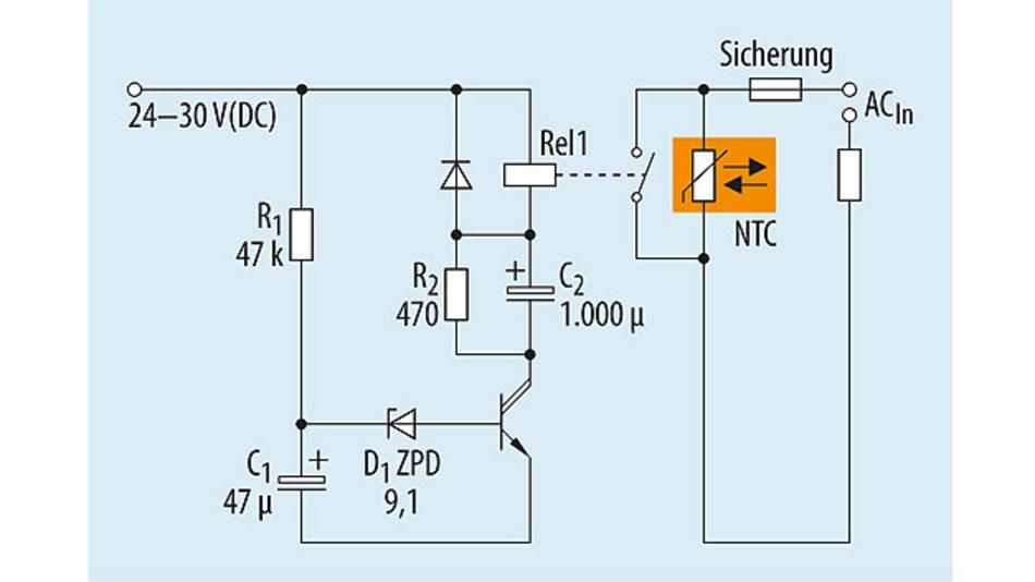 Bild 5: Zeitgesteuerte Überbrückungsschaltung für Einschaltstrom-Begrenzer. Die Ansrechzeit wird wird durch die Zeitkonstante aus R1 und C1 sowie den Wert der Z-Diode bestimmt.