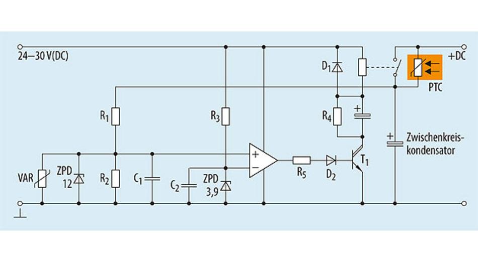 Bild 8. Spannungsgesteuerte Überbrückungsschaltung für PTC-Thermistoren.