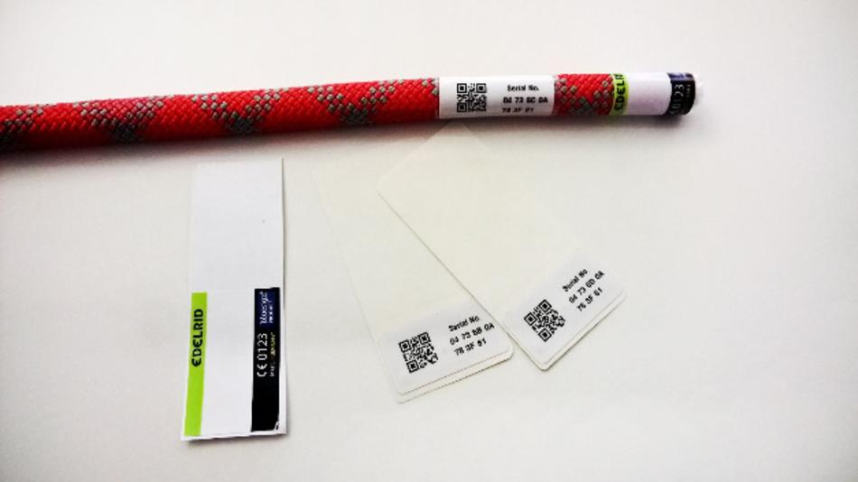 RFID-Labels an einem Kletterseil des Herstellers Edelrid