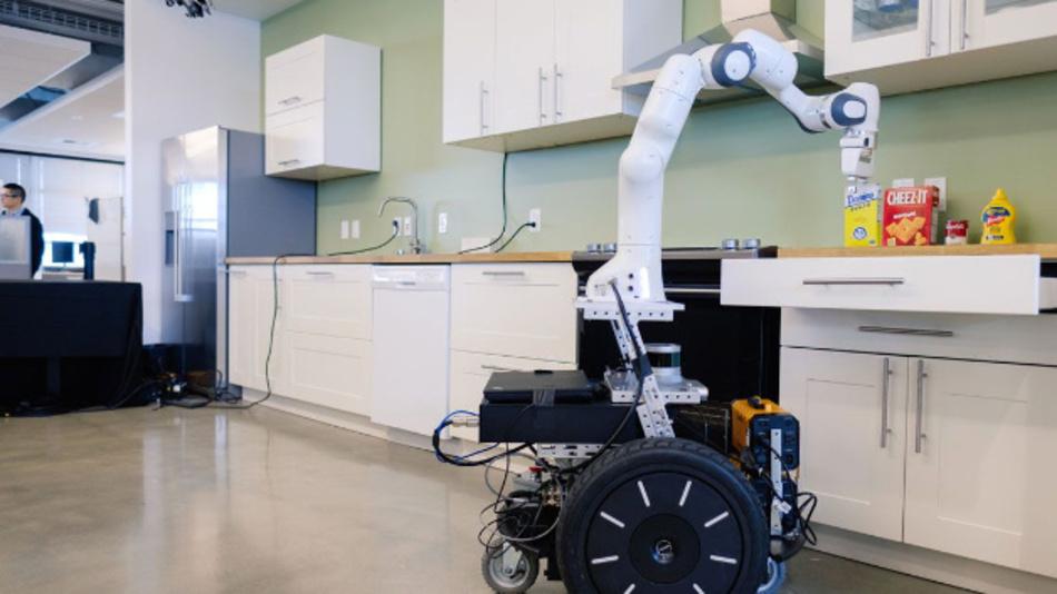 Forschungsumgebung Ikea-Küche: Nvidia-Mitarbeiter testen KI-Methoden zur Robotersteuerung in einer Küche als Testszenario für kollaborative Roboter.