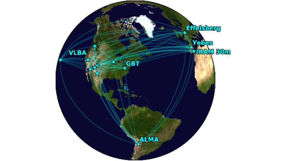 Das Globale Millimeter-VLBI-Netzwerk (GMVA) unter Miteinbeziehung des ALMA-Radioteleskops in Chile.