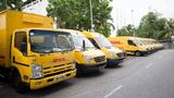 Nutzfahrzeugflotte von DHL Express in Singapur