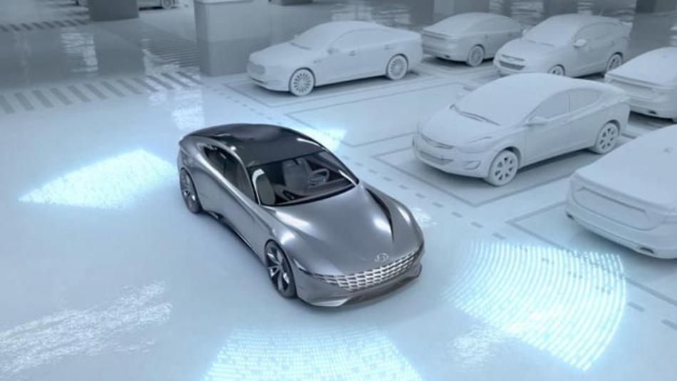 Das Automated Valet Parking System von Hyundai kombiniert vollautomatisches Parken mit dem induktiven Laden von Elektrofahrzeugen.