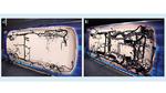 Vergleich zwischen Niederspannungs-Kabelbaum des Chevrolet Bolt (a) und Kabelbaum der autonomen Version des Chevrolet Bolt (b)