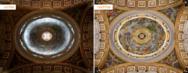 Kuppel im Petersdom mit alter und neuer Beleuchtung.