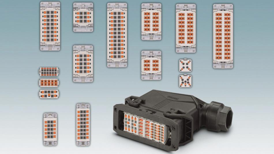 Push-in-Technik: schnell und werkzeuglos verdrahten auch im schweren Steckverbinder mit festpoligen oder modularen Kontakteinsätzen