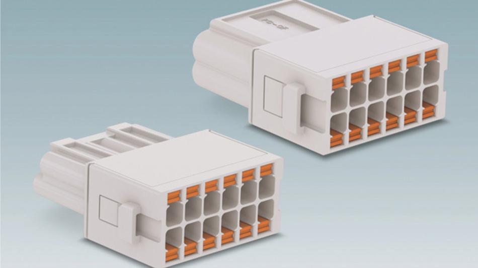 12-poliges Modul für Heavycon Modular: Die hochpoligen Module mit Push-in-Anschluss-technik vereinfachen die Verdrahtung für bis zu 72Pole in einem Steckergehäuse.