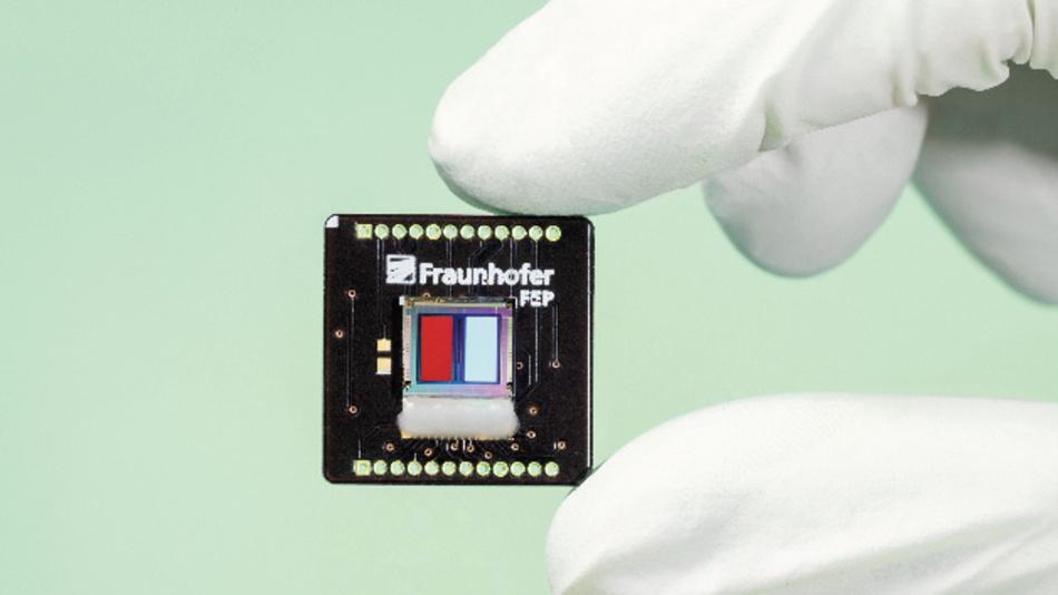 Kleinere Gassensoren durch OLED-Technik direkt auf Silizium. Den Funktionsnachweis hat das Fraunhofer FEP bereits gezeigt.