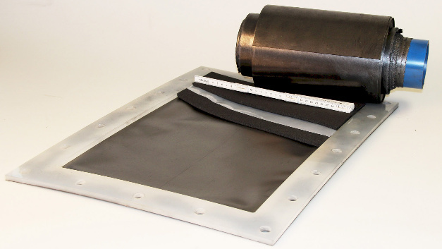 2500 cm² redox flow cell and bipolar plate manufactured using a reel-to-reel technique.