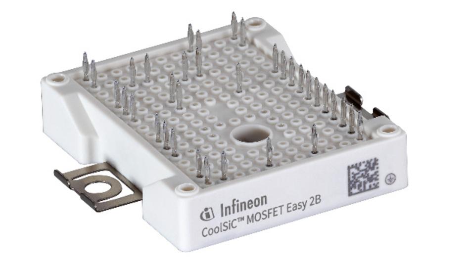 Das neue Leistungsmodul CoolSiC Easy 2B von Infineon ist ein Halbbrücken-Modul mit einem Einschaltwiderstand (RDS(ON)) pro Schalter von nur 6 mΩ.