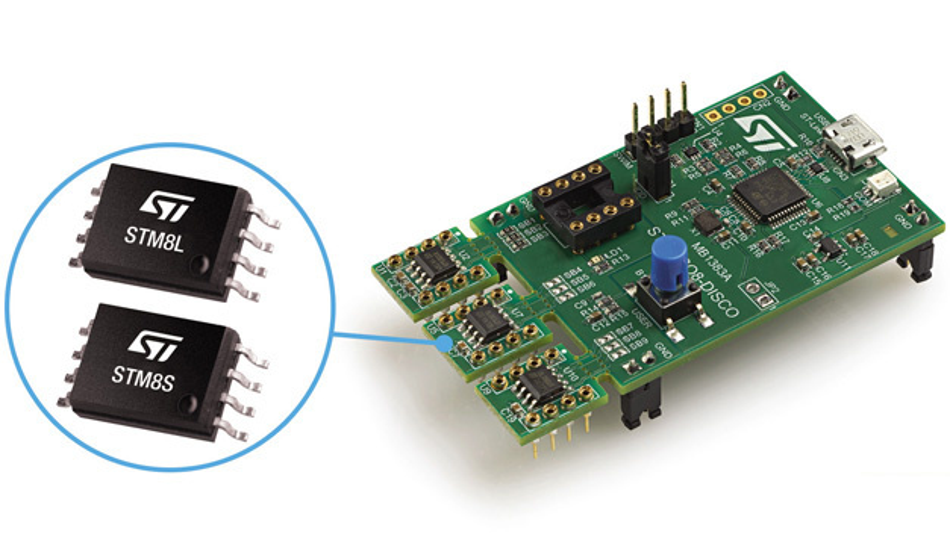 Alle drei Varianten des STM8 sind auf dem Entwicklungsmodul Discovery Kit STM8-SO8-DISCO von STMicroelectronics platziert - auf kleinen Platinen zum abtrennen.