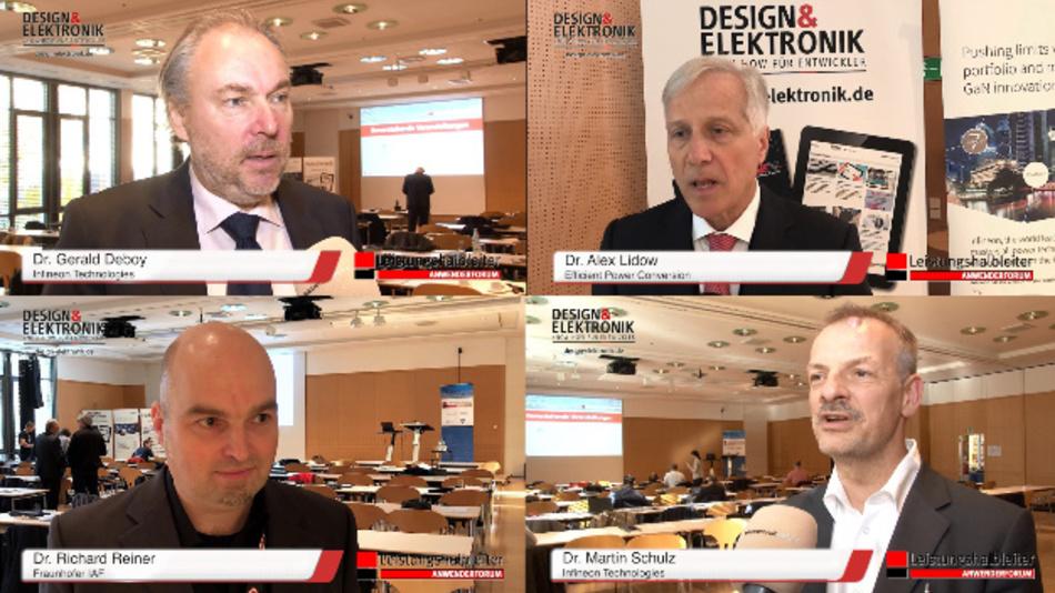 Vier Koryphäen der Leistungshalbleiter-Szene konnten wir interviewen: Dr. Gerald Deboy, Dr. Alex Lidow, Dr.-Ing. Martin Schulz und Dr. Richard Reiner (im Uhrzeigersinn von links oben)