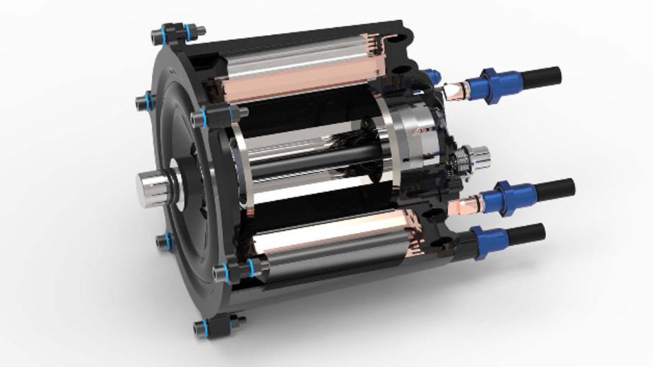 Schnittdarstellung des Elektromotors. Kernstück des Motors bildet ein Stator aus zwölf Einzelzähnen, die mit einem Flachdraht hochkant umwickelt sind.