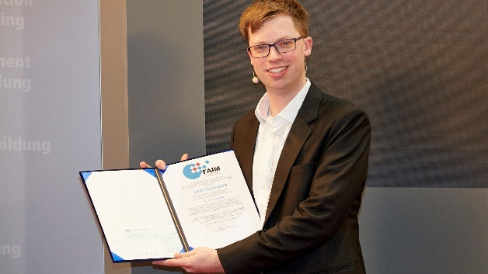 Lukas Klar erhält den Förderpreis des Forums Angewandte Informatik und Mikrosystemtechnik (FAIM)