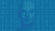 code numbers composing a human face as a metaphor for Artificial Intelligence