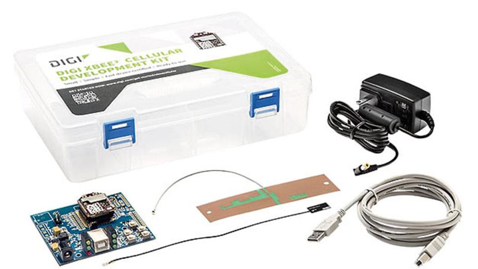 Bild 2. Das Entwicklungskit XK3-C-A2-UT-U von Digi International für das Funkmodul XBee3 enthält alles, was zum Experimentieren mit M2M-Kommunikation über LTE Cat M1 nötig ist.