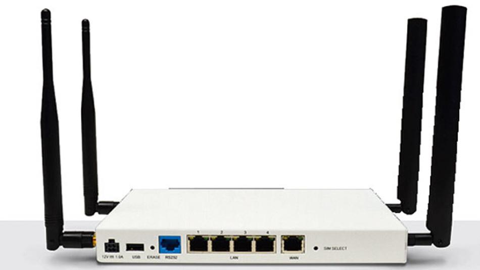 Bild 3. Der Router mit LTE-Funkmodem 6350-SR06 von Digi International verfügt über zwei Dipol-Antennen für Mobilfunkdaten und über zwei Dipol-Antennen für WiFi nach 802.11b/g/n.