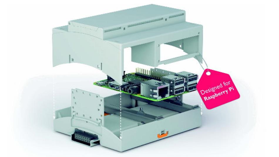 Tragschienen-Gehäuse von Phoenix Contact, speziell entwickelt für den Mini-Computer im industriellen und semi-industriellen Umfeld.
