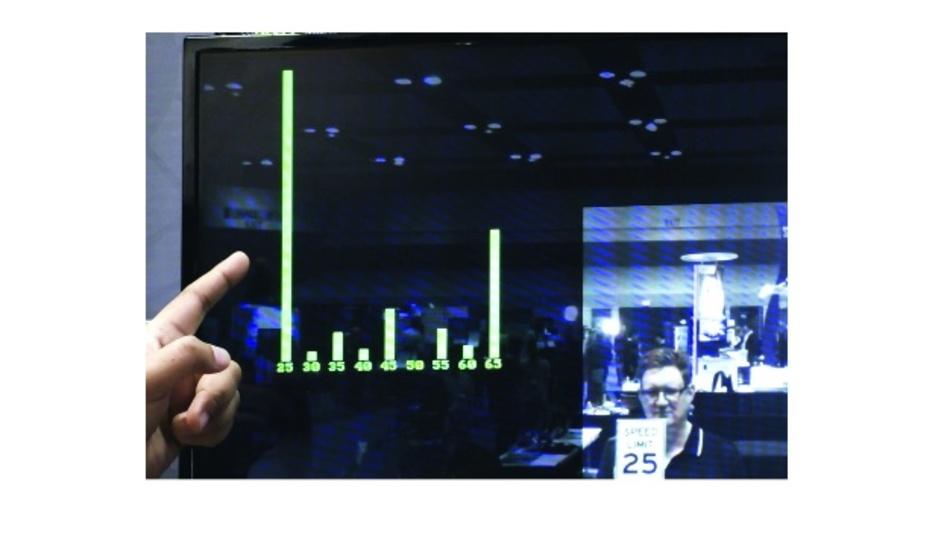 Bild 8: Ausgeführt auf dem Lattice EVDK, führt die Demo der Geschwindigkeits-Verkehrszeichenerkennung von Lattice eine Inferenz des Video-Eingangsstroms durch und generiert Ausgangswerte, die die Wahrscheinlichkeit anzeigen, dass das erfasste Bild einem Label entspricht, das mit dem jeweiligen Ausgang verknüpft ist. In diesem Fall zeigt es, dass das Verkehrszeichen zur Geschwindigkeitsbegrenzung am wahrscheinlichsten 25 Meilen pro Stunde vorgibt.
