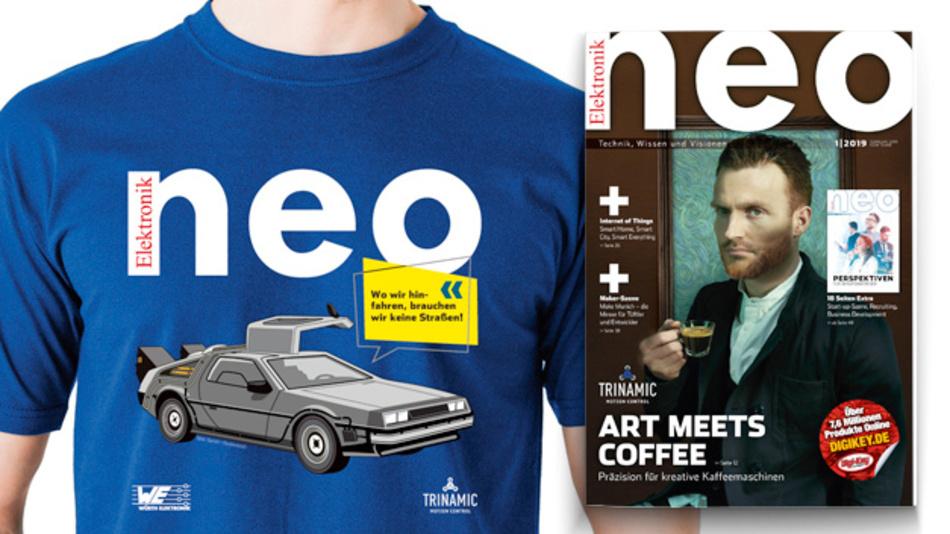 Schnappt Euch die neue Ausgabe der Elektronik neo – obendrauf gibt es ein gratis T-Shirt solange der Vorrat reicht.