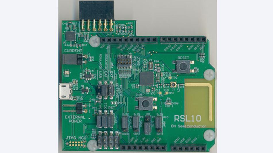 Bild 4. Das Evaluation Board mit dem RSL10, der bereits Bluetooth 5 unterstützt, von ON Semiconductor.