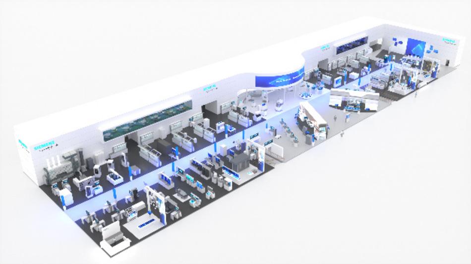 Der Siemens-Stand auf der Hannover Messe 2019 aus der Vogelschau