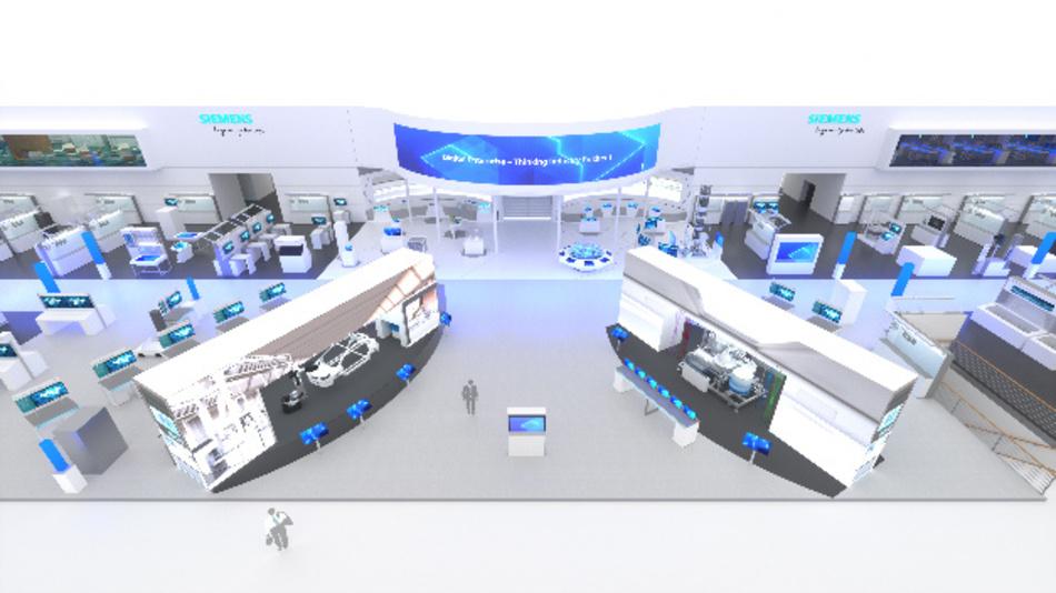Der Zentralbereich des Siemens-Stands auf der Hannover Messe 2019 von oben