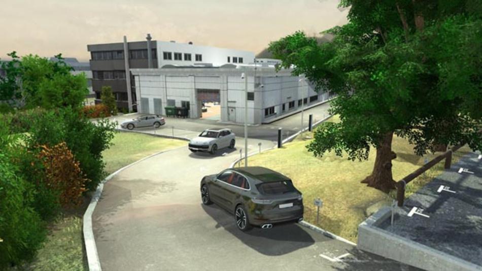 Porsche testet autonomes Fahren in der Werkstatt. Dazu wurde das Testgelände inklusive der Werkstatt-Umgebung in eine virtuelle Darstellung überführt. Mithilfe von KI soll für Fahrzeugorientierung gesorgt und eigenständig Objekte erkannt sowie die Pfadplanung durchgeführt werden.