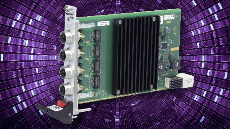 Die G211X von MEN ist eine Quad-Ethernet-Karte, basierend auf CompactPCI Serial. Die vier Gigabit-Ethernet-Schnittstellen an der Frontplatte sind über robuste, X-kodierte M12-Stecker zugänglich. Alle vier Schnittstellen werden von einem Ethernet-Controller gesteuert, der über eine x4-PCI-Express-Verbindung mit der Backplane verbunden ist. So unterstützt jede Schnittstelle zudem eine Datenübertragungsrate von 1 Gbit/s – und das selbst, wenn alle vier Kanäle gleichzeitig genutzt werden. Zur besseren Kontrolle, zeigen je zwei LEDs den Verbindungs- und Aktivitätsstatus der Schnittstellen an. Die G211X ist für die erweiterte Betriebstemperatur ausgelegt und – auch dank der extrem robusten M12-X-Stecker – für den Einsatz in rauer und mobiler Umgebung vorbereitet.