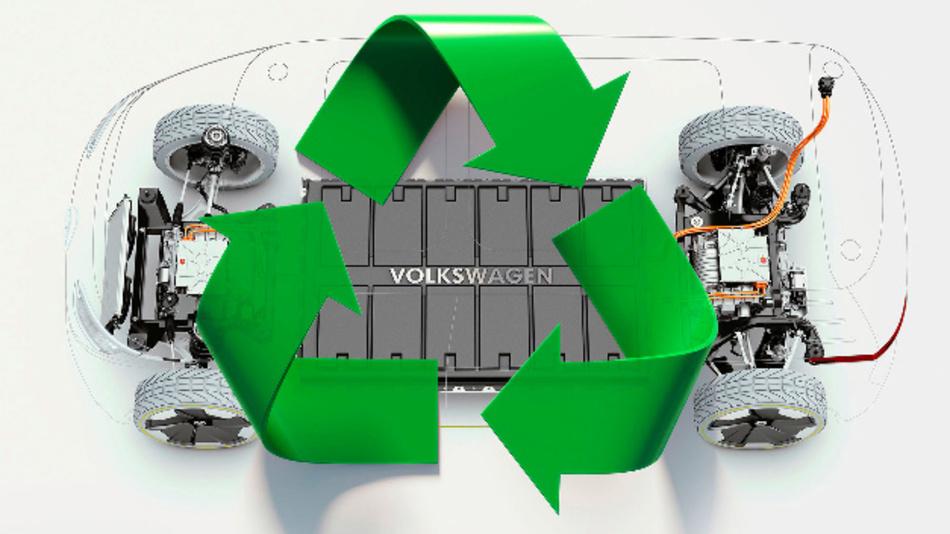 Die Fahrzeugbatterie besteht aus vielen Batteriezellen – Volkswagen arbeitet am Recycling.